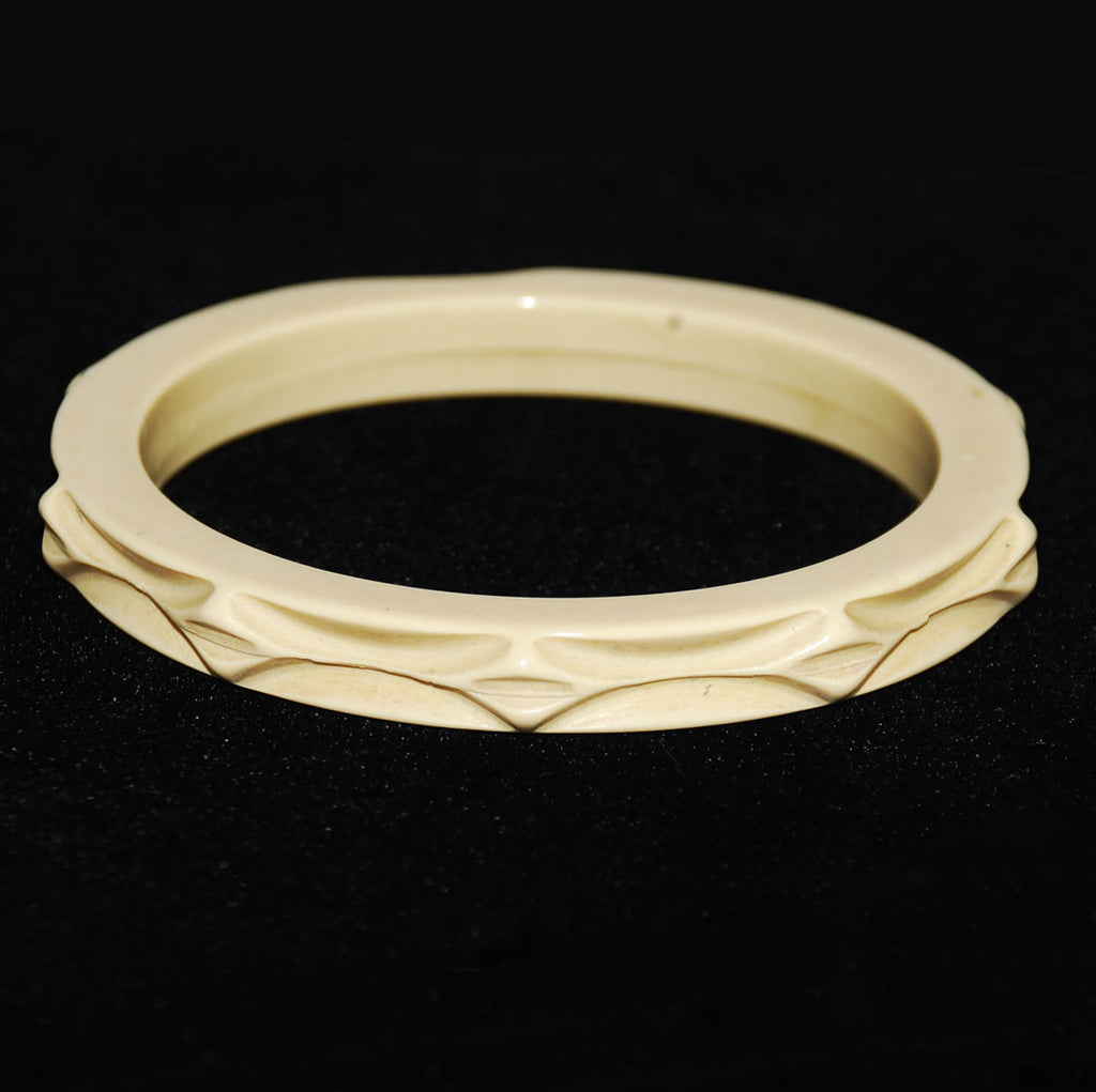 Celluloid Bangle Bracelet French Ivory Vintage
