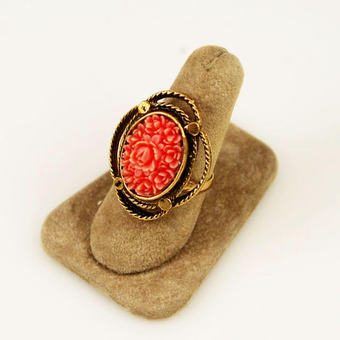 Antique Coral Celluloid Floral Ring