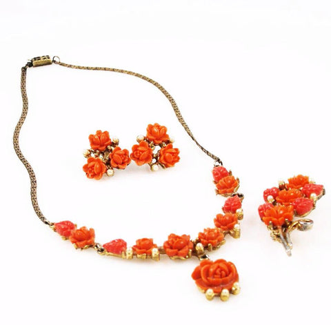 Carved Coral Celluloid Rose Necklace Set Parure 1940's