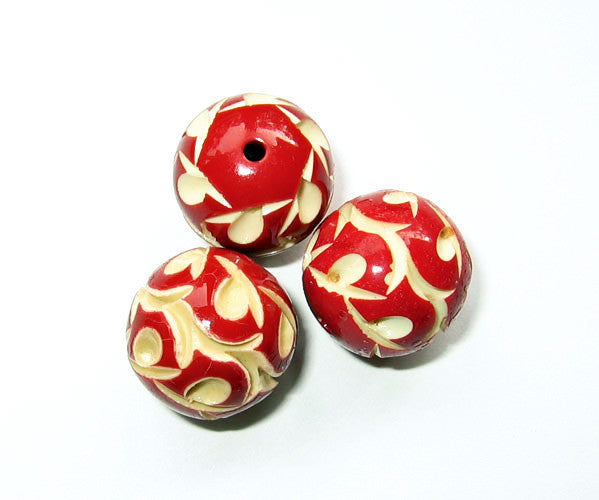 Red Celluloid Beads