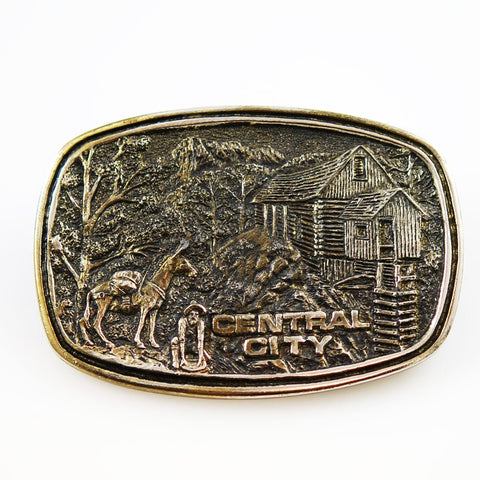 Central City Mining Brass Belt Buckle