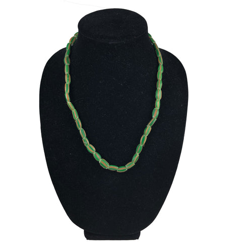 Green striped African Trade Beads