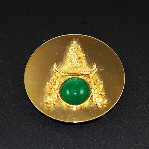 Asian Pagoda Gold & Jade Belt Buckle