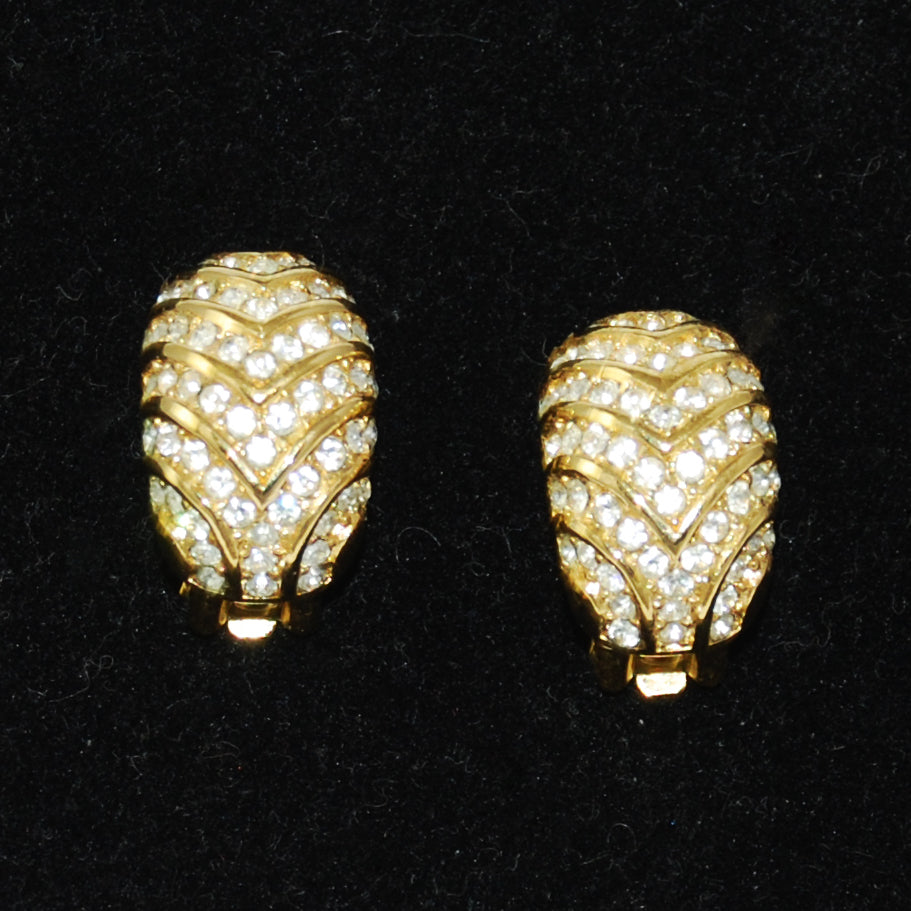 Christian Dior Elegant Rhinestone Clip On Earrings