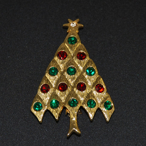 Gold Rhinestone Christmas Tree Pin Vintage