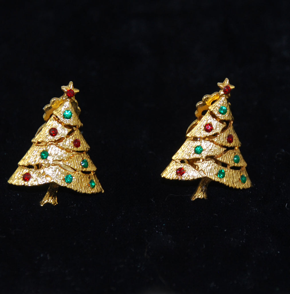 Traditional Rhinestone Christmas Tree Clip On Earrings Vintage