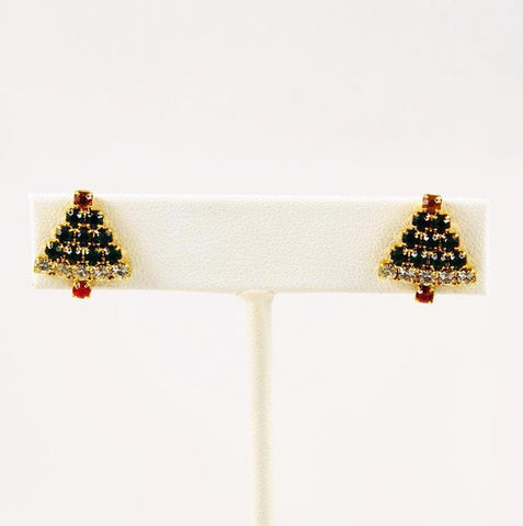 Rhinestone Christmas Tree Earrings Vintage