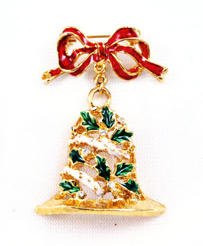 Enamel Christmas Bell Brooch Holiday Vintage