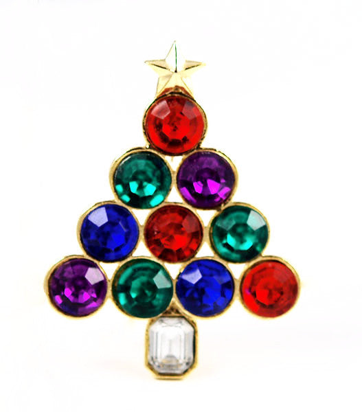 Modernist Large Rhinestone Christmas Tree Pin