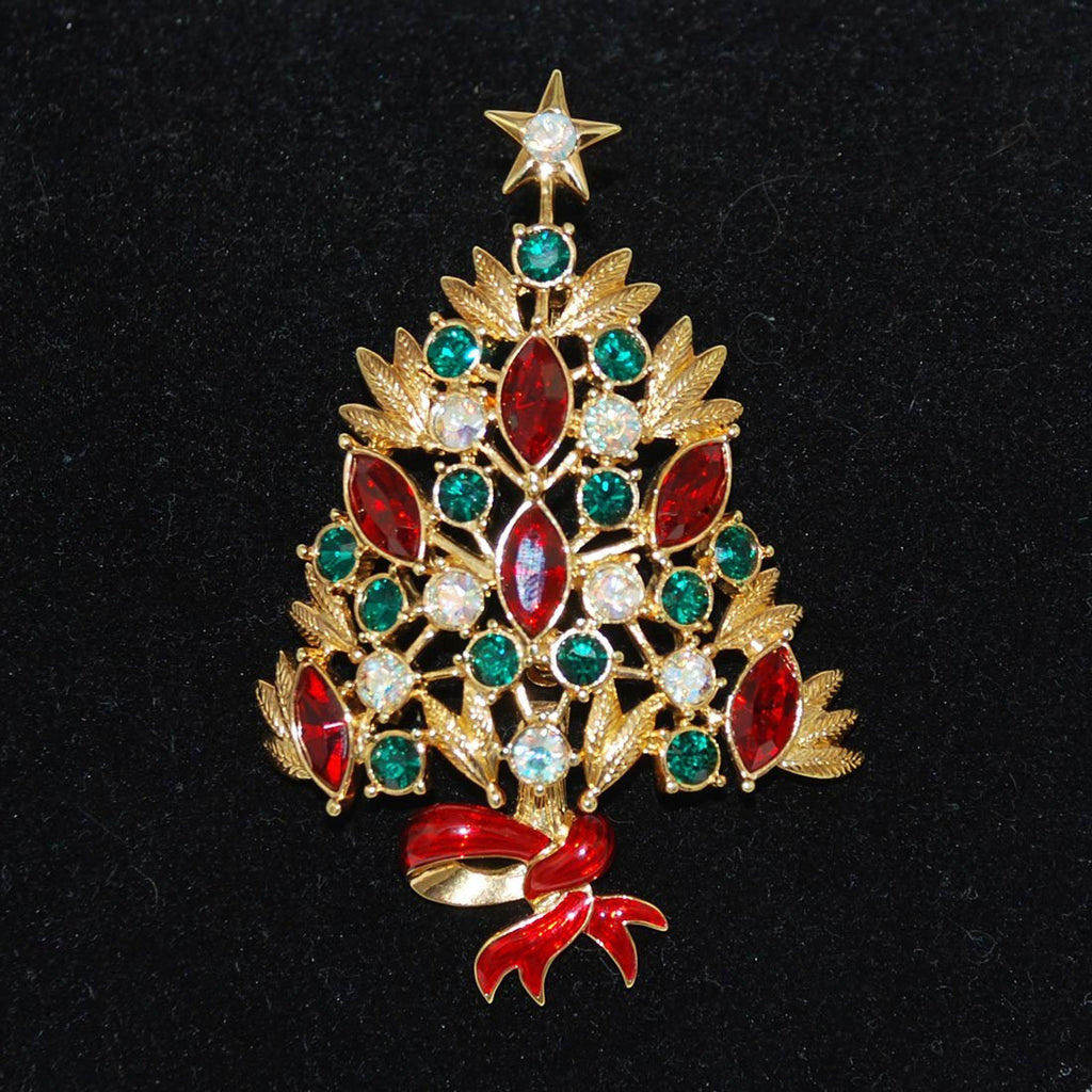 Colorful Rhinestone Christmas Tree Pin Vintage