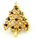 Gold Plated Rhinestone Christmas Tree Pin Vintage