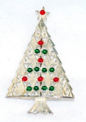 Silver Tone Christmas Tree Pin Vintage