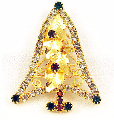 Rhinestone Christmas Tree Pin Vintage Gold Tone