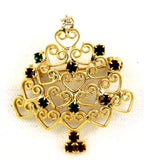 Rhinestone & Filigree Heart Christmas Tree Pin Vintage