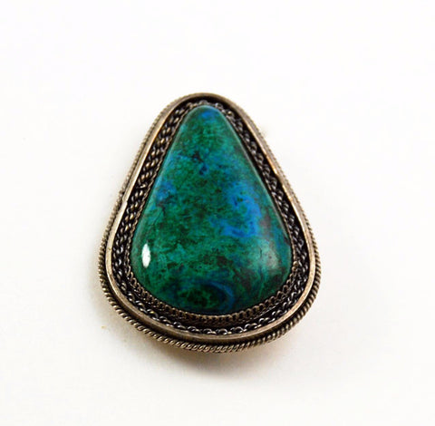 Native American Sterling & Chrysocolla Brooch/Pendant Vintage