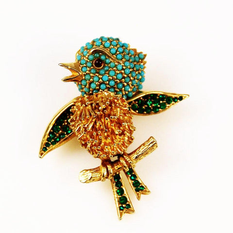 Ciner Bird Brooch Designer Signed Vintage