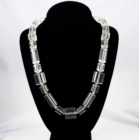 Clear Lucite Necklace Vintage 1970's