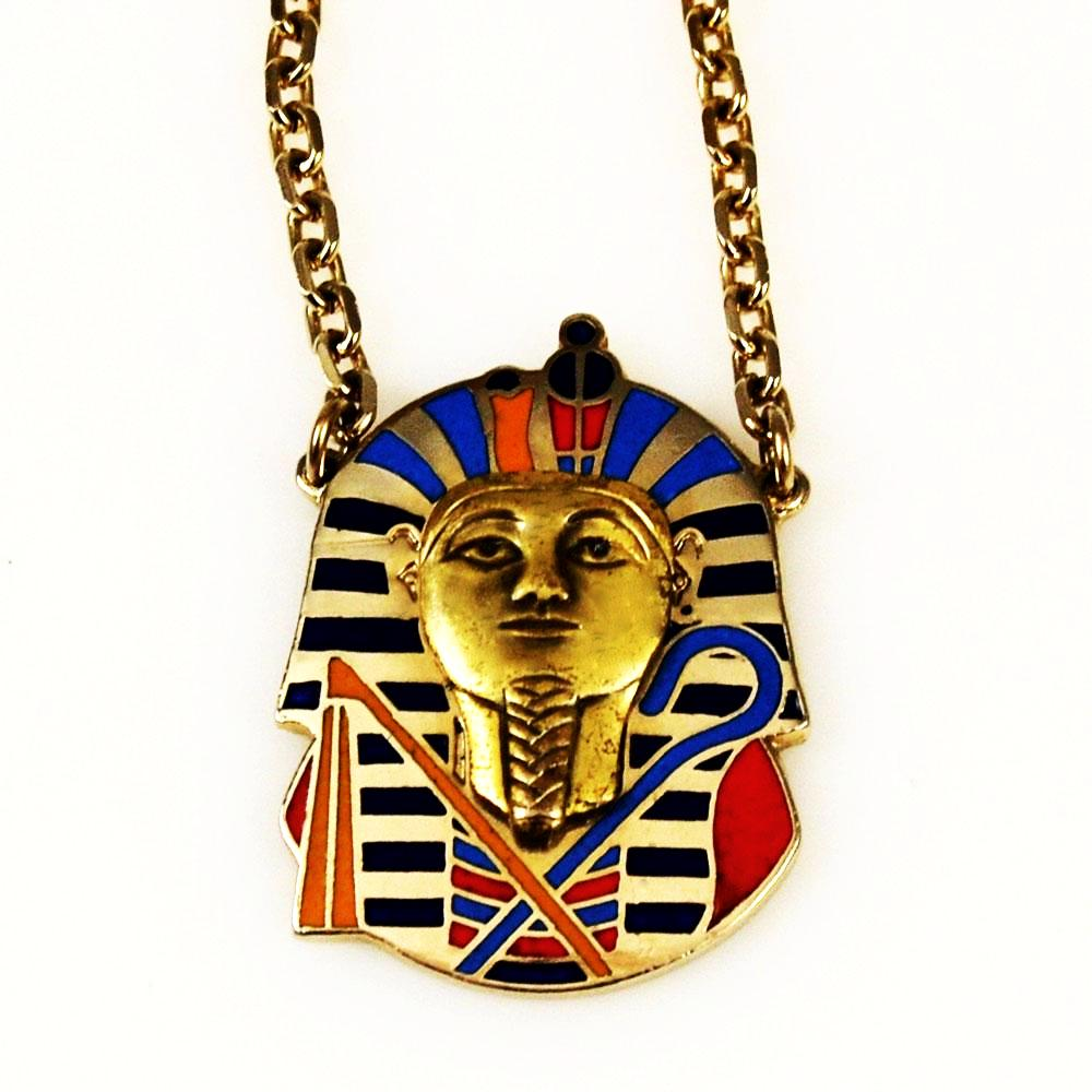 Cloisart Egyptian Revival Cloisonné King Tut necklace