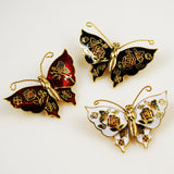 Cloisonné Butterfly Pin NOS