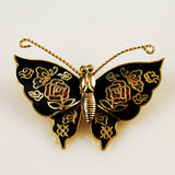 Cloisonné Black Butterfly Pin NOS