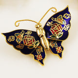 Cloisonné Navy Butterfly Pin NOS