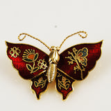 Cloisonné Red Butterfly Pin NOS