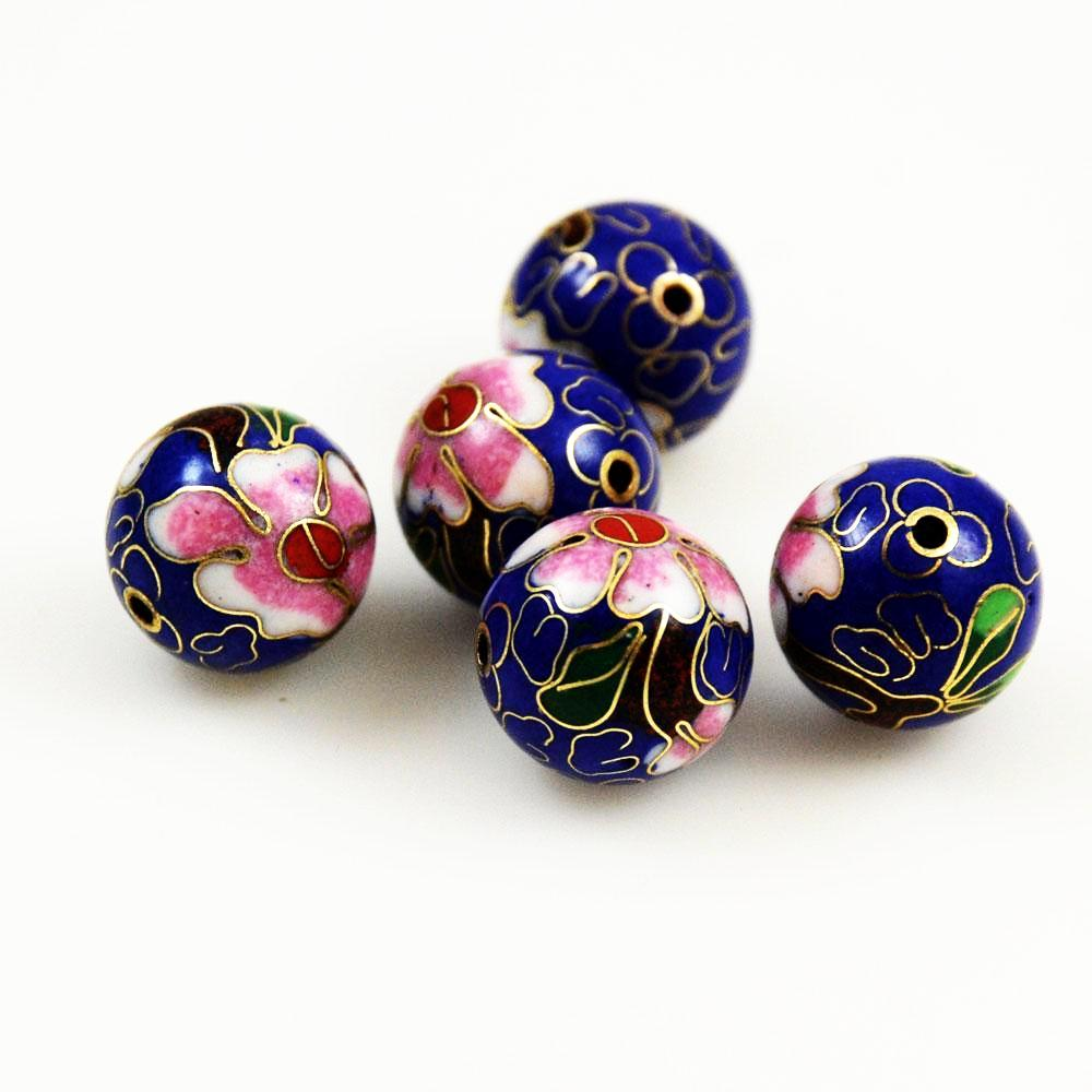 Blue Cloisonne 16mm Round Beads