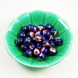 Blue Cloisonne 16mm Round Beads Large Vintage in green bowl