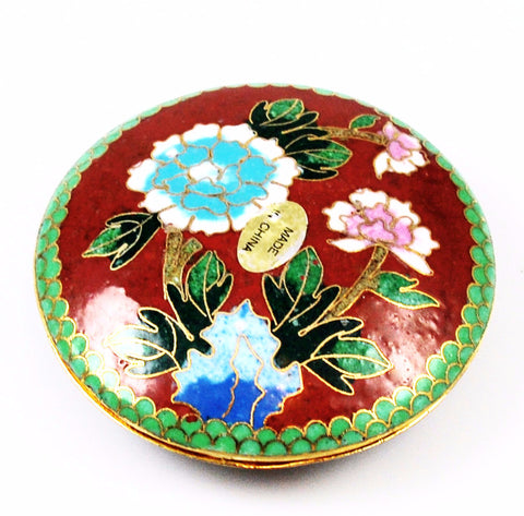 Red Cloisonne Round Box Vintage Chinese