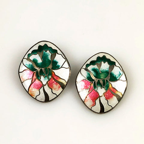 cloisonne floral earrings vintage