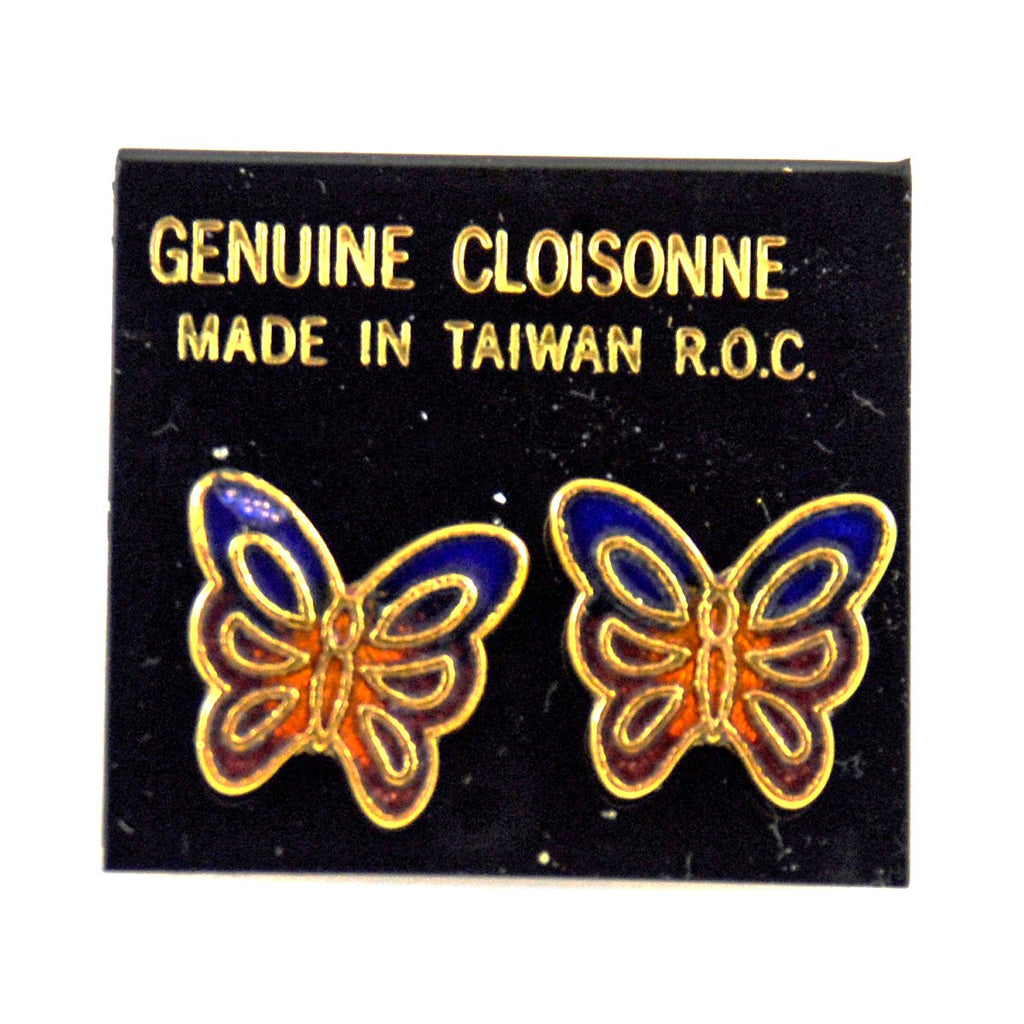 Cloisonné Butterfly Pierced Earrings NOS