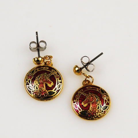 Unicorn cloisonne earrings