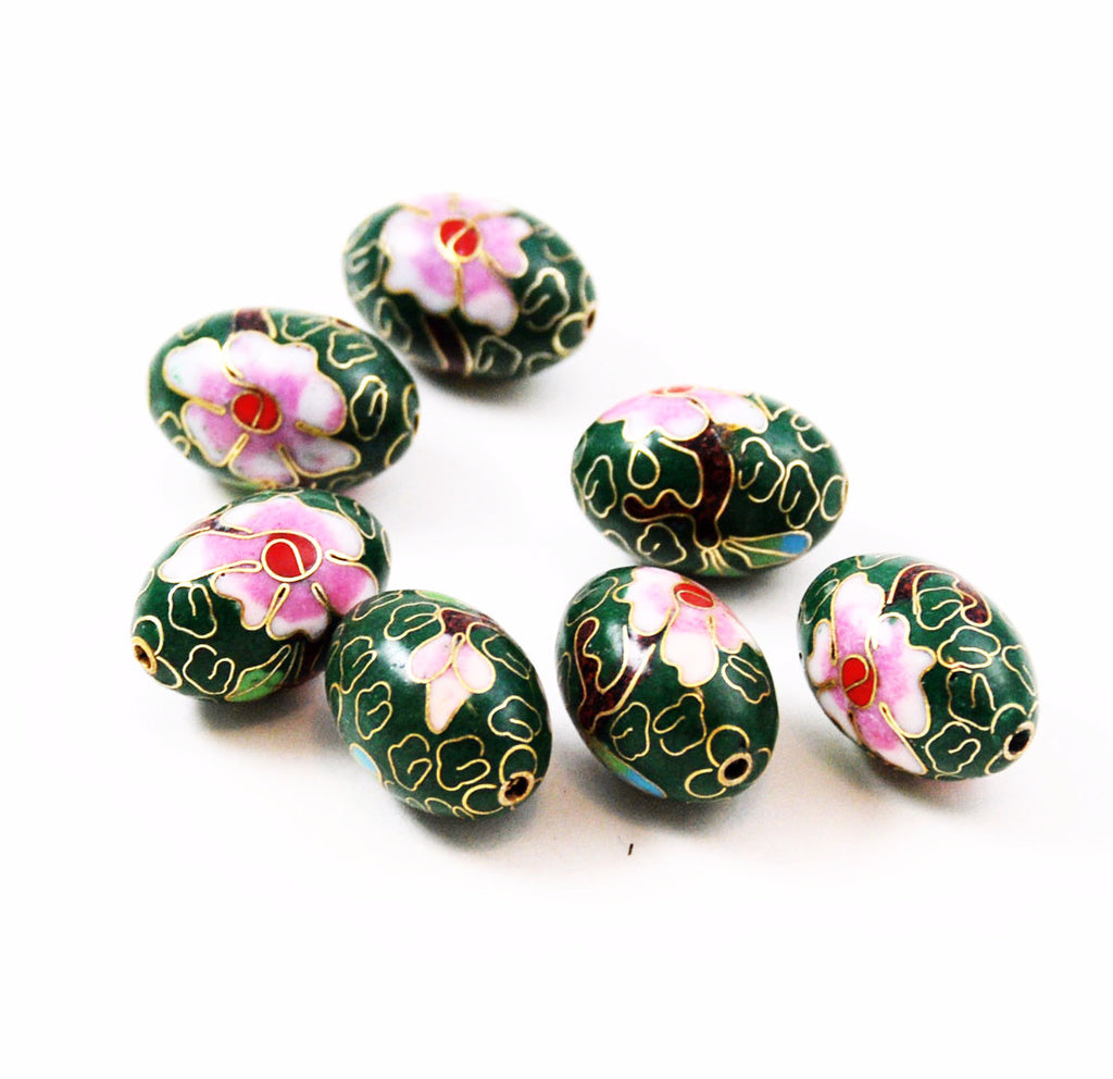 Large Cloisonne Green Oval Beads Vintage Chinese