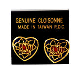 Cloisonne heart earrings