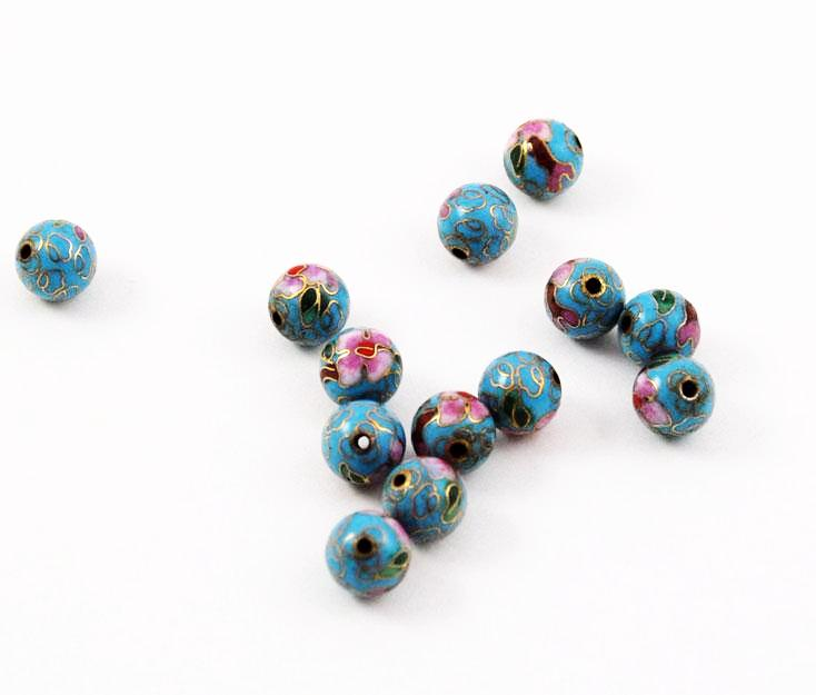 Cloisonne Turquoise Blue Round Beads Vintage Chinese