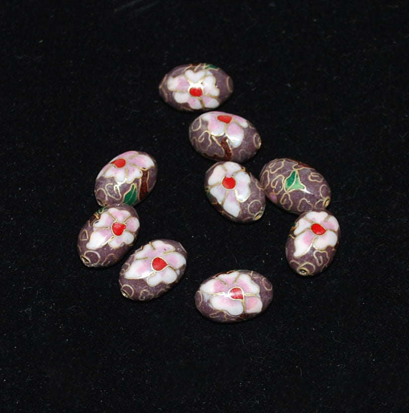 Cloisonne Plum Oval Beads Vintage Chinese