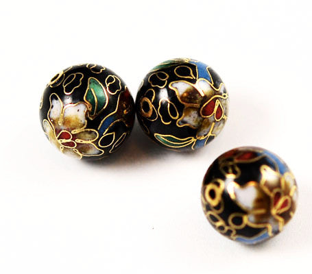 Cloisonne Black Round Beads Vintage Chinese