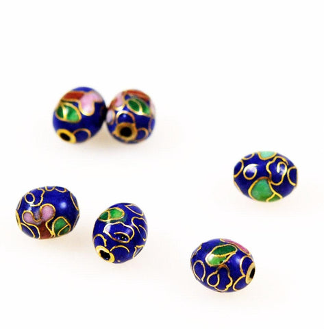 Blue Cloisonne Oval Beads Vintage Chinese 9 x 7mm