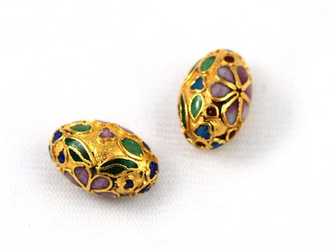 Large Cloisonne Gold Oval Beads Vintage Chinese 18 x 12mm