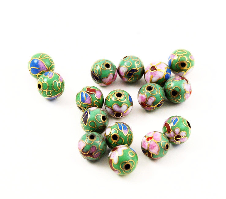 Cloisonne Light Green Round Beads Vintage Chinese