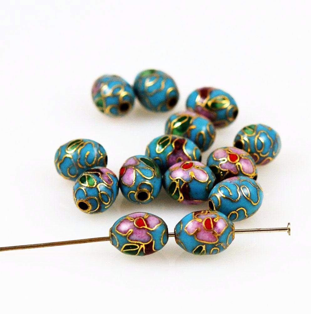 Turquoise Blue Cloisonne Oval Beads Chinese 9 x 7mm