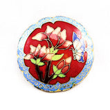 Cloisonne Red & Blue Floral Pendant Vintage Chinese