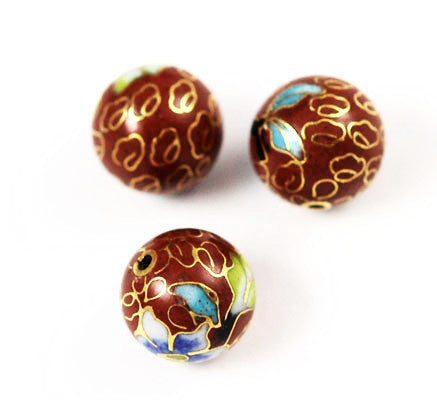 Cloisonne Rust Round Beads Vintage Chinese