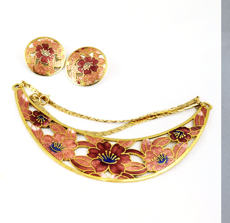 Cloisonne Necklace Set - Bracelet & Earrings 1970's