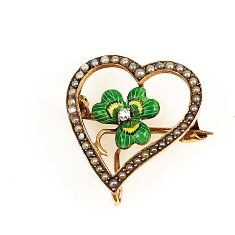 Victorian Clover & Heart 12K Gold Watch Pin