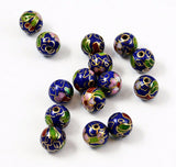 Cloisonne Navy Round Beads Vintage Chinese