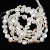 White Freshwater Pearl Coin Beads Strand