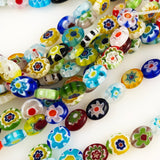 Millefiori Beads Glass Colorful Flowers