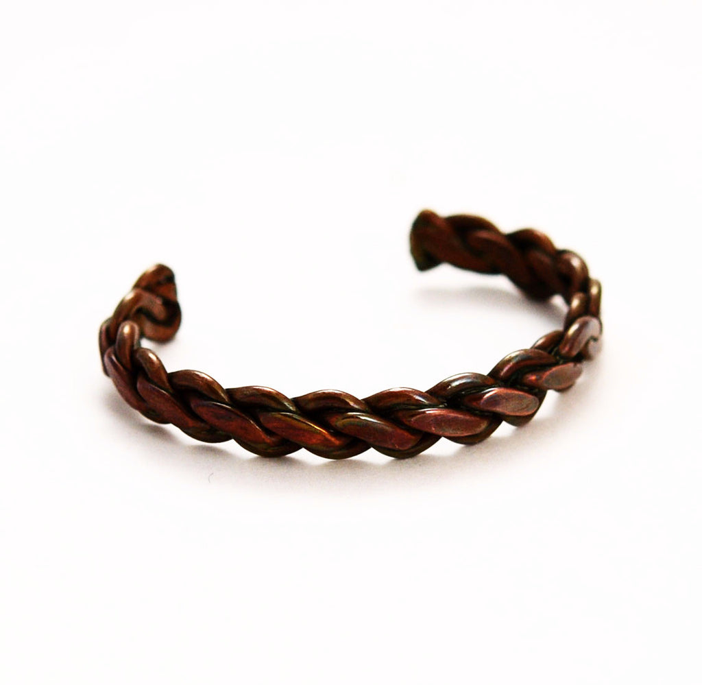 Copper Braided Unisex Cuff Bracelet Vintage