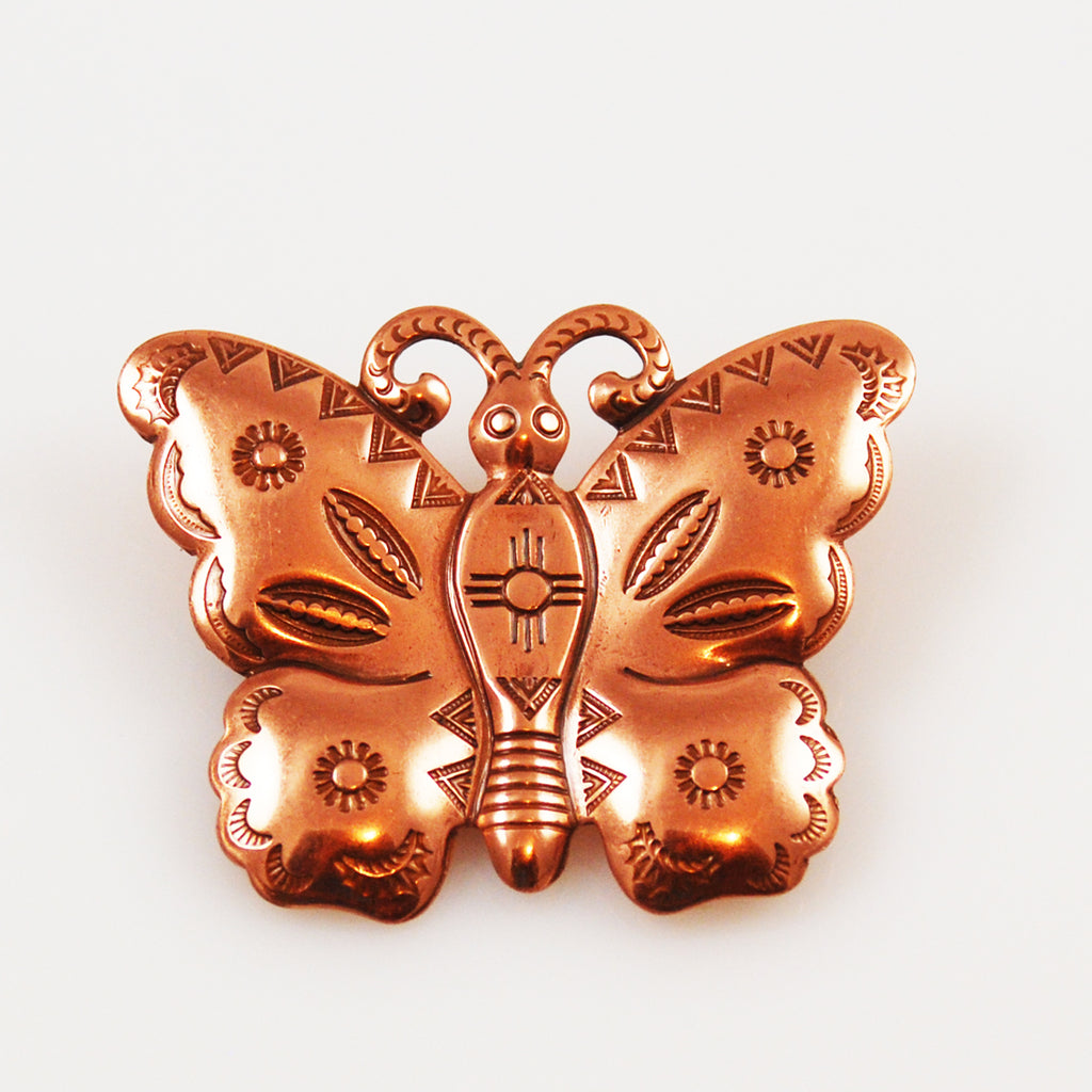 Copper Butterfly Brooch Vintage
